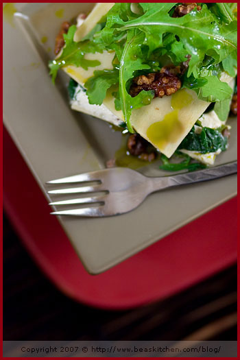 lasagna green spinach ricotto walnut pistachio oil