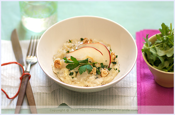 gorgonzola pear walnut risotto